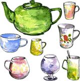 Set of teacups and teapot Royalty Free Stock Photography