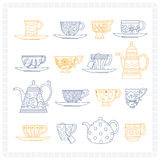 Set of teacups and teapots Royalty Free Stock Photography