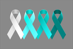 Set of Teal Ribbons from light to dark. Set of vector teal ribbons from white to dark teal over neutral grey background Royalty Free Stock Photo
