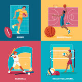 Set of Team Active Sports with Ball Royalty Free Stock Photos