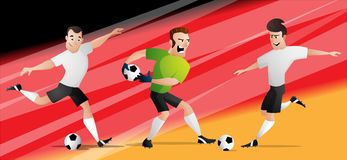 Team Germany football soccer players set kicking the ball royalty free stock image