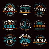 Set of team sports, motorcycling and military emblems. Set of team sports, motorcycling, camping  and military emblems. Graphic design for t-shirt. Color print Stock Images