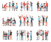 Set of Teams Discussing Idea and Celebrating. royalty free illustration