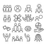 Set of teamwork icons. Brainstorming creative team for business, management concept outline isolated on white background vector illustration