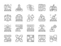 Set of Teamwork Line Icons. Startup, Leadership, International Team and more. stock illustration