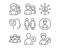 Teamwork, Restroom and Group icons. Women headhunting, Delete user and Person signs. Set of Teamwork, Restroom and Group icons. Women headhunting, Delete user Stock Image