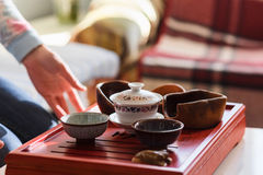 Set of teapot, three kinds of tea and two bowls Royalty Free Stock Photos