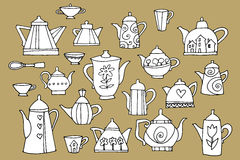 Set of a teapots. Hand drawn Stock Image