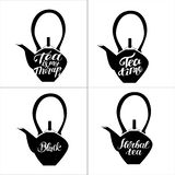 Set of teapots in doodle style. Hand drawn typography. vector illustration