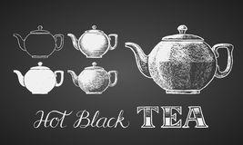 Set of teapots drawn on chalkboard Royalty Free Stock Photography