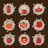 Set of teapots and mugs. Done in red color scheme. Kettles hand drawing. Cups and kettles are available on beige spots. Background brown Stock Images