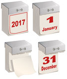 Set of tear off calendar 2017. Illustration in vector format Royalty Free Stock Photo