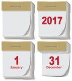 Set of tear off calendar 2017. Illustration in vector format Stock Images