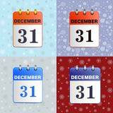 Set of tear-off calendars. Date 31 December. New-year, Christmas vector illustration of  icon. Sheet wall calendar. Template can be used for any design Stock Photography