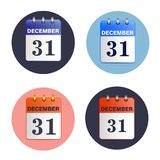 Set of tear-off calendars. Date 31 December. New-year, Christmas vector illustration of  icon. Sheet wall calendar. Template can be used for any design Royalty Free Stock Image