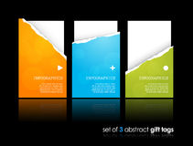 Set of teared gift cards. Royalty Free Stock Images