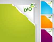 Set of teared papers with bio sign. Stock Photos