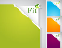 Set of teared papers with fit sign. Stock Image