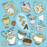 set teavictorian för tecknad film arkivbilder