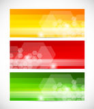 Set of tech banners with hexagons Royalty Free Stock Images