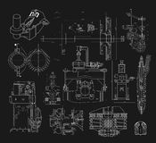 Set of technical drawings Royalty Free Stock Images