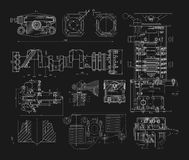 Set of technical drawings Royalty Free Stock Image