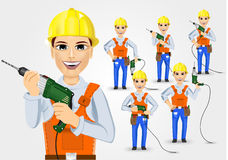 Set of technical, electrician or mechanic. Holding electric drill  over white background Stock Images