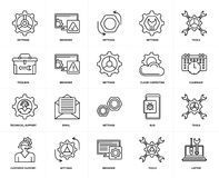 Set of  Technical Support, Laptop, Tools, Settings, Toolbox, Browser, Cloud computing, Tools icons. Set Of 20 simple editable icons such as Laptop, Calendar Stock Images