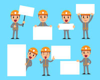 Set of technician with blank white banner Royalty Free Stock Photography