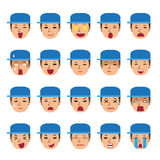 Set of a technician faces showing different emotions. For design Royalty Free Stock Photo