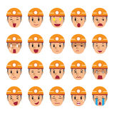 Set of technician faces showing different emotions. For design Royalty Free Stock Photo