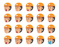 Set of technician faces showing different emotions. For design Stock Images
