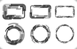Set of techno - frames with different thickness for futuristic design. Stock Photo