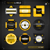 Set of 9 techno labels Royalty Free Stock Image