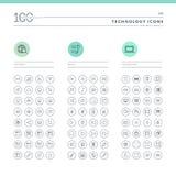 Set technologii ikony dla sieci i wiszącej ozdoby ilustracji