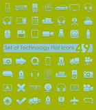 Set of technology flat icons Stock Photos