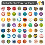Set of technology flat icons. It is a set of 56 technology vector web icons for Web and Mobile Applications royalty free illustration