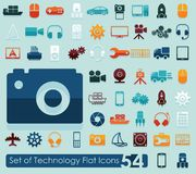 Set of technology flat icons Stock Photo