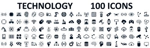Set of 100 technology icons. Industry 4.0 concept factory of the future. Technology progress: 5g, ai, robot, iot, near field