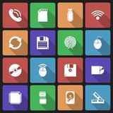 Set of Technology Icons with Long Shadow Royalty Free Stock Images