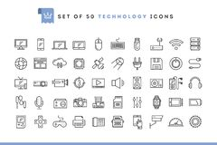 Set of 50 technology icons, thin line style. Vector illustration stock illustration