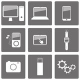 Set of technology icons Stock Photos