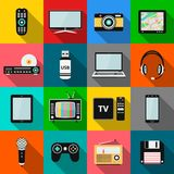 Set of technology and multimedia devices icons with long shadow effect. Vector illustration eps10 Royalty Free Stock Images