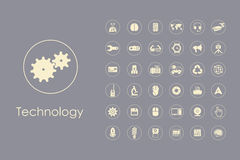Set of technology simple icons Stock Photo