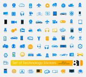 Set of technology stickers Stock Photos
