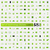 Set of technology stickers Stock Images