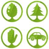 set tecken för 1 eco stock illustrationer