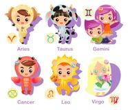 set tecken för 1 horoskopsymbolsdel Arkivbild