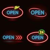 set tecken för neon Arkivfoto