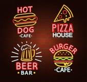 set tecken för neon royaltyfri illustrationer
